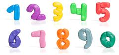 Colorful plasticine digits Stock Photos