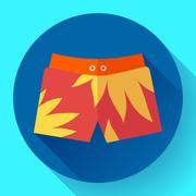 Man Beach Shorts Vector icon. Flat design style. Stock Illustration