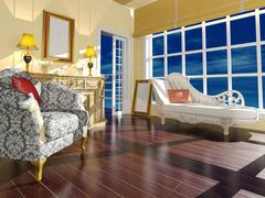 Classic living room interior decoration in daylight Stock Illustration