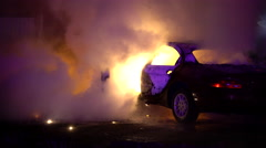 Car Engulfed In Flames Stock Footage