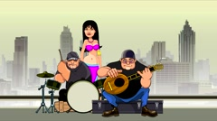 Cartoon group of street musicians and a dancer. Stock Footage
