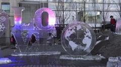 Illuminated ice sculptures at Yorkville, Toronto 2016 Stock Footage