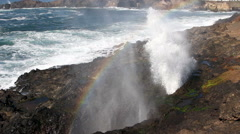 Rainbow In Mist From Spout Horn Newport Oregon Stock Footage