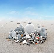 Peaceful and calm background of Buddhist stone garden. Abstract zen harmony - stock photo