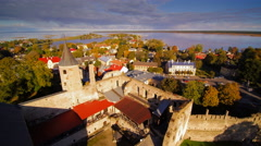 Aerial view of the old medieval castle in Haapsalu Stock Footage