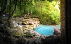 Tranquil and peaceful nature background of beautiful river stream flowing - stock photo