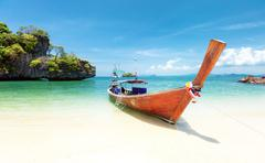 Summer day on exotic beach of tropical island. Thailand tourism landscape - stock photo