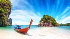 Amazing nature and exotic travel destination in Thailand. Thai tourist boat - stock photo