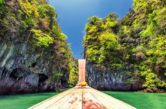 Boat cruise in Thailand near Phuket island. Beautiful tropical nature Stock Photos