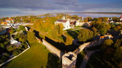 Aerial shot of the green and sunny Haapsalu city Stock Footage