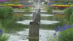 Beautiful fountain near Kensington Palace in London Stock Footage