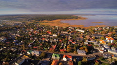 Aerial view of the river and houses in Haapsalu Stock Footage