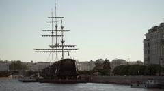 Centre of Saint-Petersburg, Russia: River Neva, bridge, and wood ship - stock footage