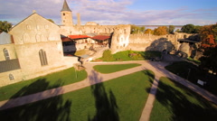 The old medieval castle in the town of Haapsalu Stock Footage