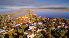 Roofs and trees seen on aerial shot in Haapsalu Stock Footage