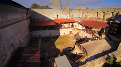Aerial close up look of the old medieval castle Stock Footage