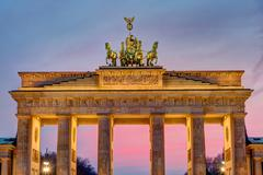 The Brandenburg Gate after sunset - stock photo
