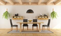 Stock Illustration of White dining room with rustic table