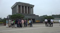 Ho Chi Minh mausoleum memorial in Hanoi, historic figure in Vietnam - stock footage