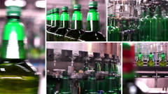 Montage collection of technological line for bottling of beer in brewery Stock Footage