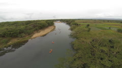 Canoing on a river in Africa Stock Footage