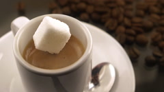 Coffee with sugar in slow motion Stock Footage
