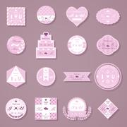 Set of wedding decorative stickers - stock illustration