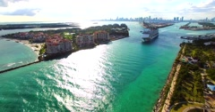 Cruise ship enter to Atlantic ocean from Government Cut canal. Stock Footage
