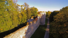 Trees inside the wall of the ruined castle Stock Footage