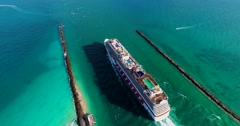 Cruise ship enter to Atlantic ocean from Government Cut canal. - stock footage