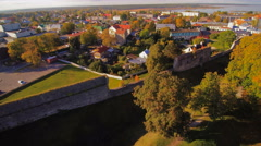 The wall of the old ruined castle in Haapsalu Stock Footage
