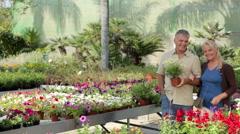 Mature couple walking through garden centre - stock footage