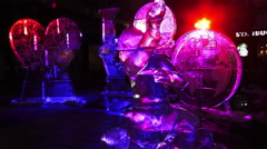 Illuminated ice sculptures at Yorkville, Toronto 2016 Stock Footage
