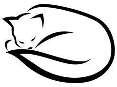 Stylized lying black cat - stock illustration