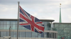 English flag waving in London Stock Footage