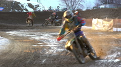 Crazy off-road motorcycling. 4k Stock Footage