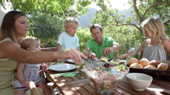 Family eating lunch al fresco Stock Footage