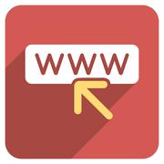 Select Website Flat Rounded Square Icon with Long Shadow - stock illustration
