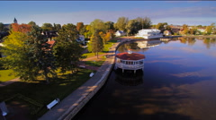 The small gazeebo on the river Stock Footage