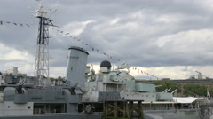 Part of HMS Belfast museum seen in London Stock Footage