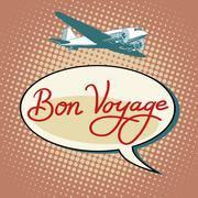 Bon voyage plane tourism flights - stock illustration