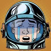 Emoticon tears roar Emoji face man astronaut retro Stock Illustration