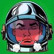 Emoticon anger rage Emoji face man astronaut retro Stock Illustration