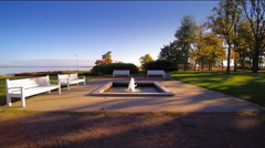 The rectangular fountain in the middle of the park - stock footage