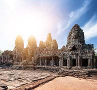 Angkor Thom khmer temple on Angkor Wat historical place in Cambodia - stock photo