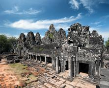 Bayon khmer temple on Angkor Wat historical place in Cambodia Stock Photos