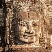 Ancient murals and carvings of Bayon temple in Cambodia Stock Photos