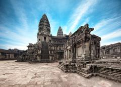 Blue sky with clouds over Angkor Wat temple in Cambodia Stock Photos