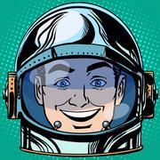 emoticon joy laughter Emoji face man astronaut retro - stock illustration