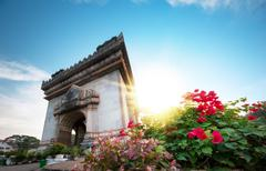 Stock Photo of Traveling to Laos. Patuxai Arch landmark photography